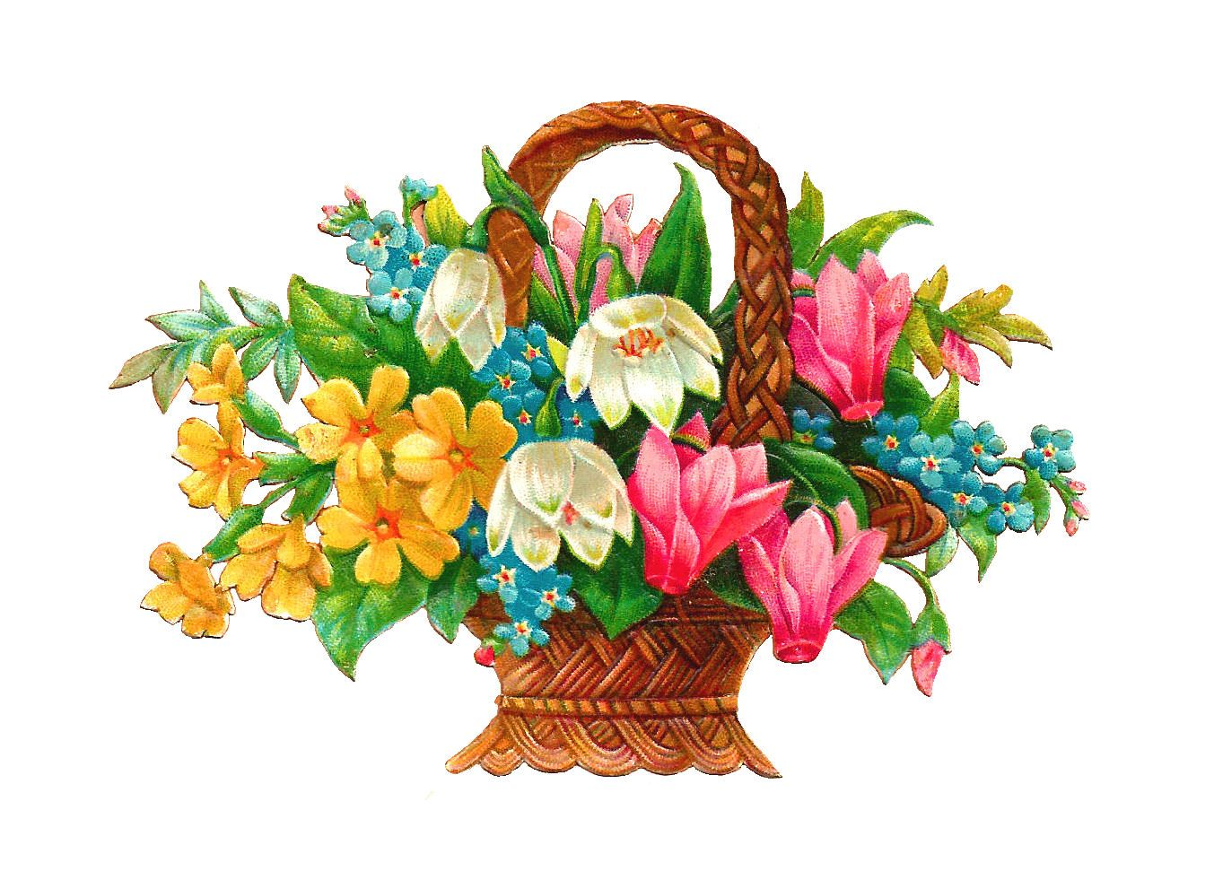 Antique images free basket. Bouquet clipart pretty flower