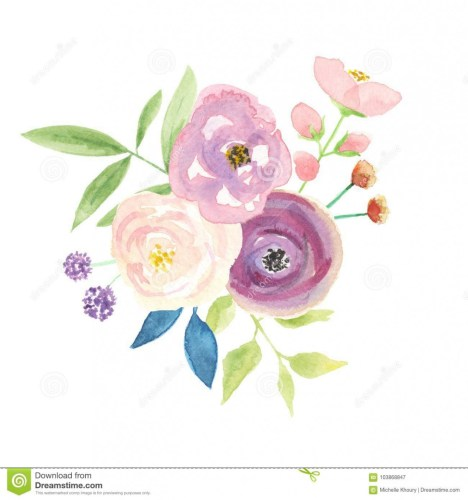 Watercolour berries arrangement pink. Bouquet clipart pretty flower