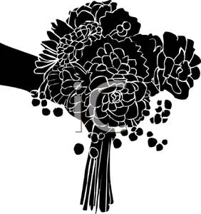 Bouquet clipart silhouette. A of brides royalty