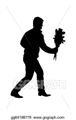 Bouquet clipart silhouette. Stock illustration of a