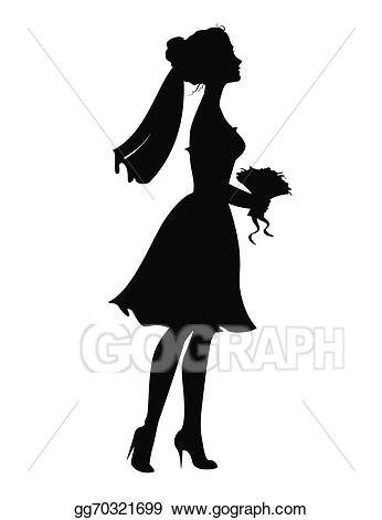 Vector art of bride. Bouquet clipart silhouette