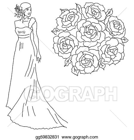Vector of a bride. Bouquet clipart silhouette