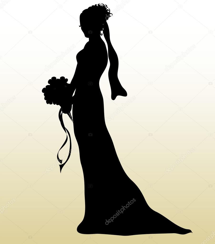 Bouquet clipart silhouette. Illustration of a bride