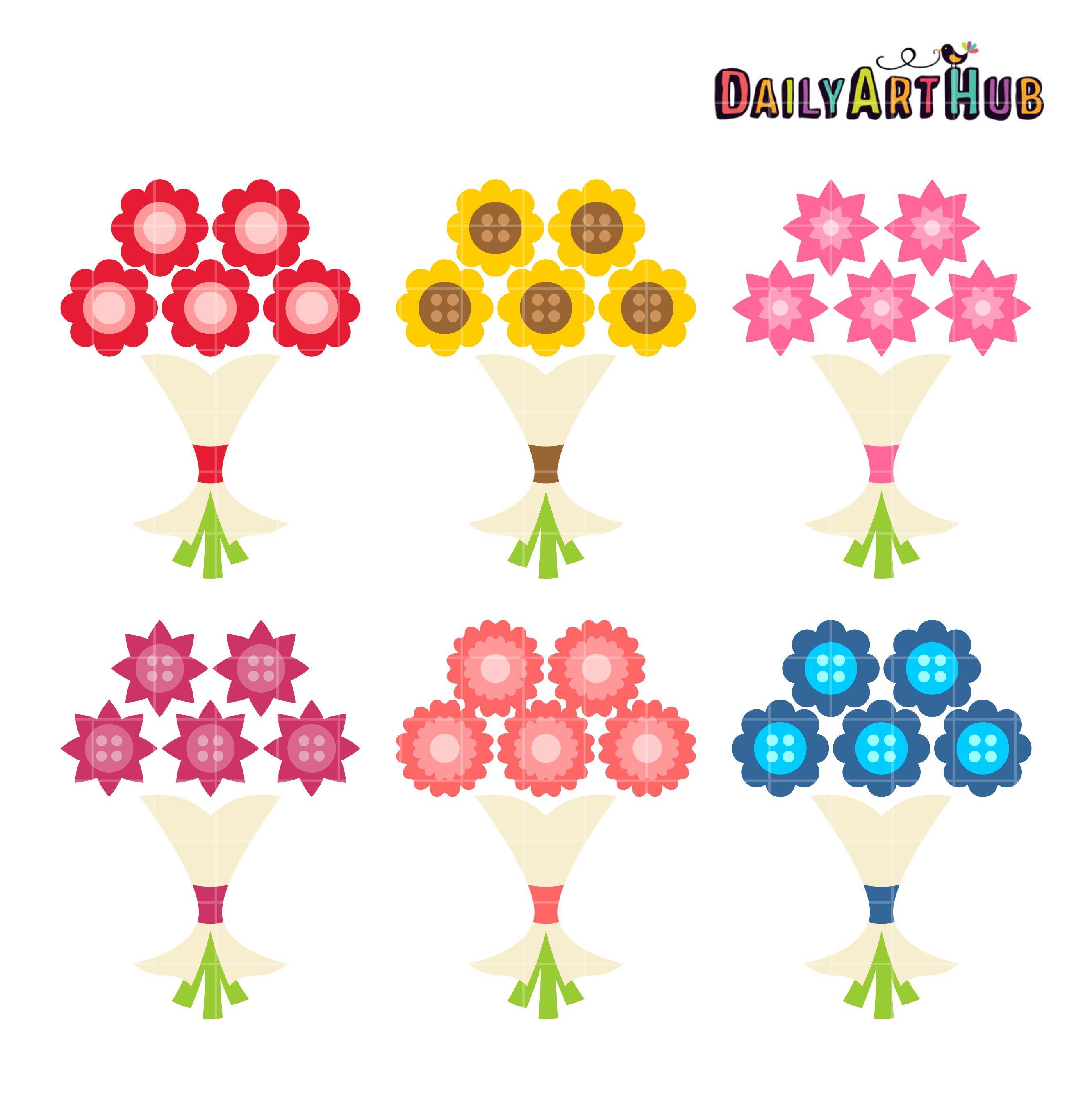Bouquet clipart simple bouquet. Flower clip art set