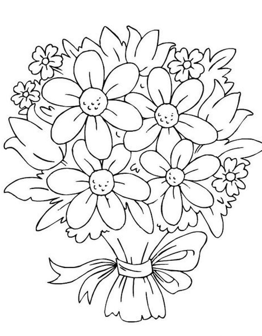 Bouquet clipart simple bouquet. Of flowers coloring pages
