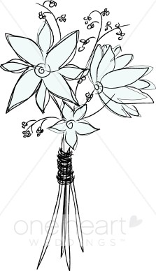Bouquet clipart simple bouquet. Sketch flower