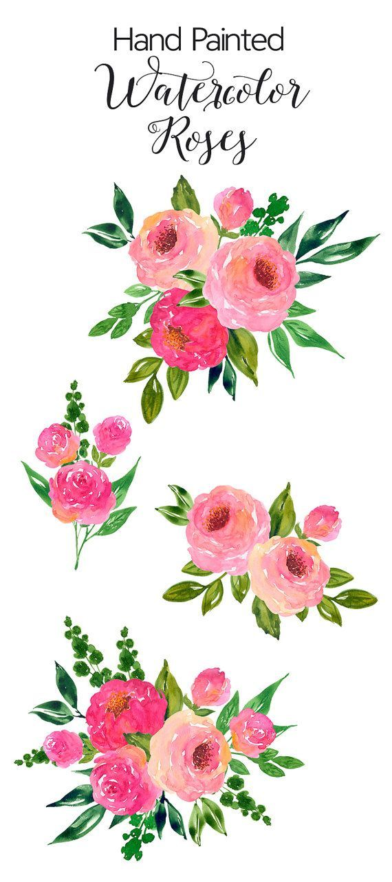 Bouquet clipart simple bouquet. Watercolour flower clip art
