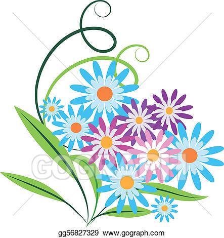Vector art of flowers. Bouquet clipart spring