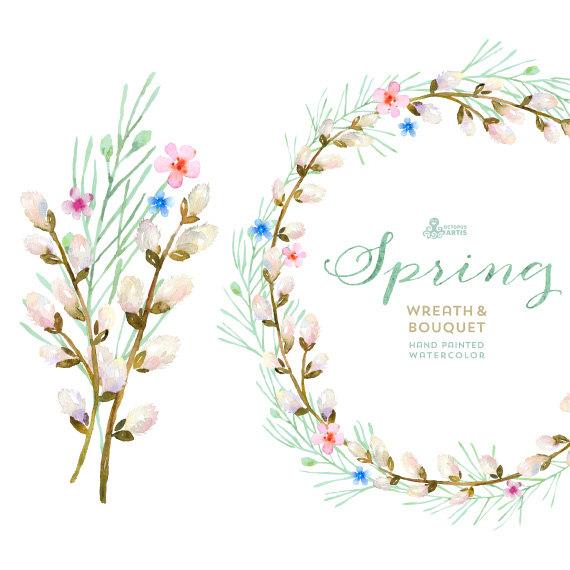 Wreath flowers handpainted . Bouquet clipart spring