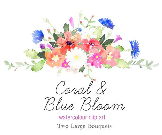 Watercolour floral clip art. Bouquet clipart spring flower bouquet