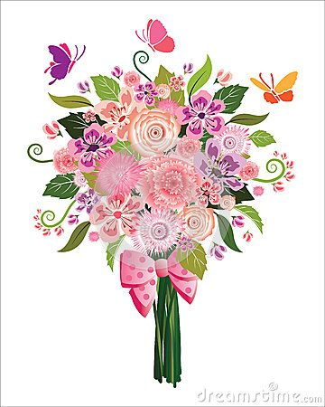 Illustration of with butterflies. Bouquet clipart spring flower bouquet