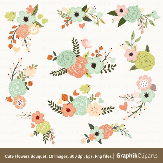 Cute flowers vector . Bouquet clipart spring flower bouquet