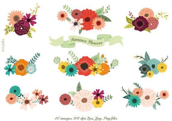 Flowers wedding invitation images. Bouquet clipart summer