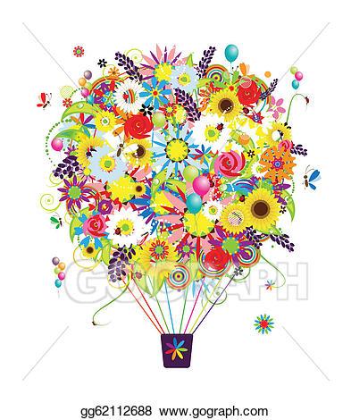 Vector art season concept. Clipart balloon summer