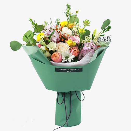 Bouquet clipart summer. Multicolor of flowers in