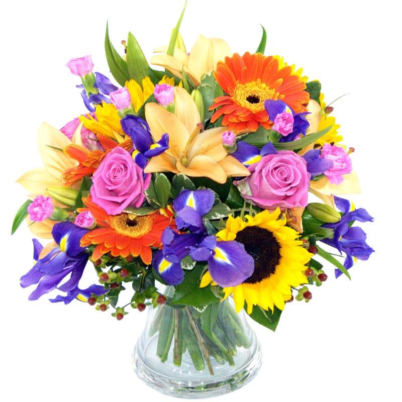 Burst of fresh carnations. Bouquet clipart summer flower