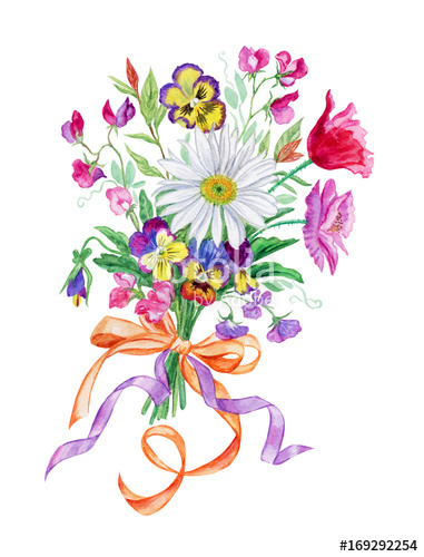 Of flowers with chamomile. Bouquet clipart summer