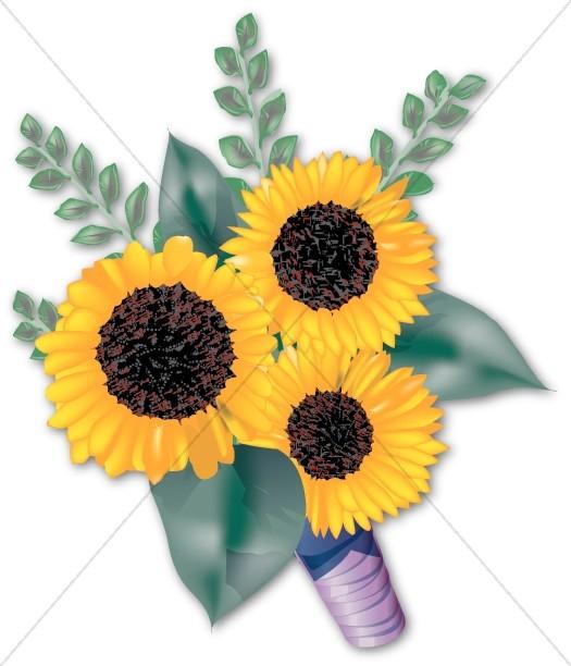 Yellow bridal church. Bouquet clipart sunflower bouquet