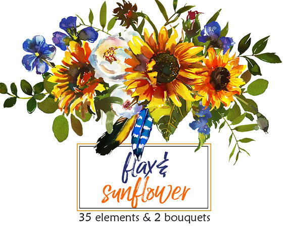 Bouquet clipart sunflower bouquet. Boho watercolor flax sunbeam
