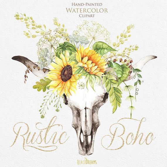 Watercolor boho bull skull. Bouquet clipart sunflower bouquet