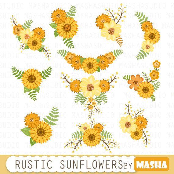Bouquet clipart sunflower bouquet. Floral flowers by mashastudio