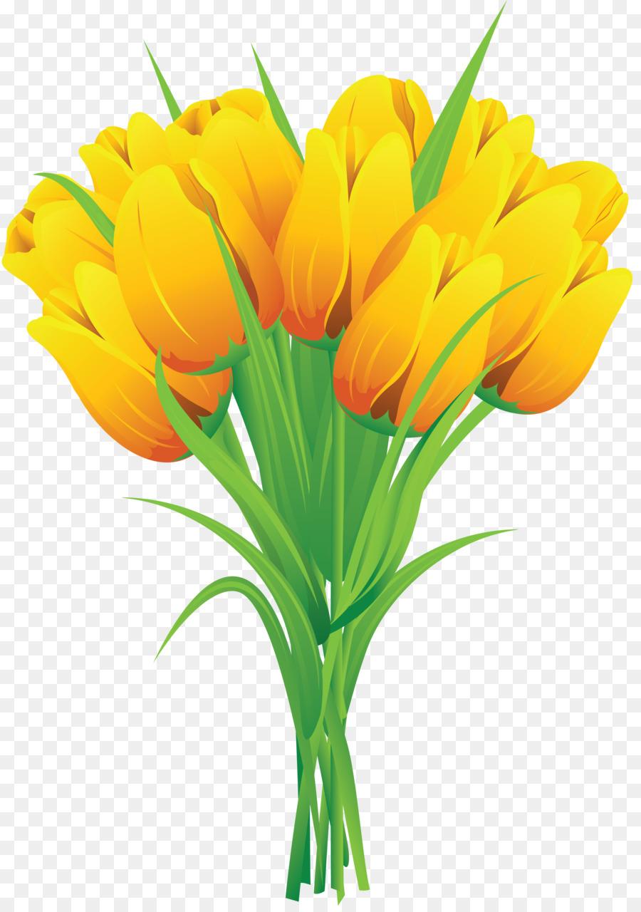 Flower yellow clip art. Bouquet clipart tulip