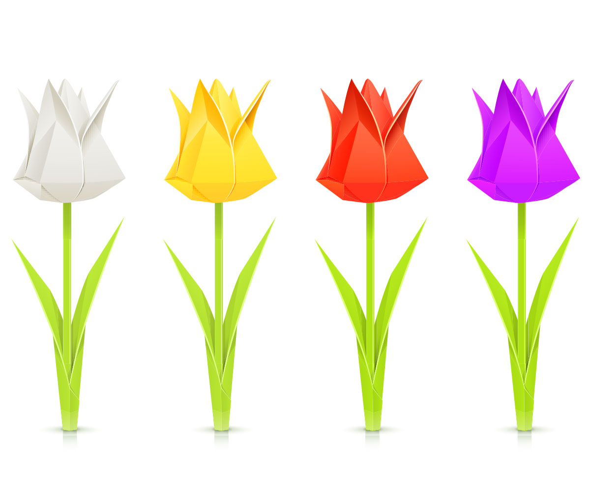 Bouquet clipart tulip. Make an origami paper