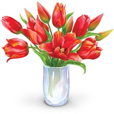 Of flowers in vase. Bouquet clipart tulip