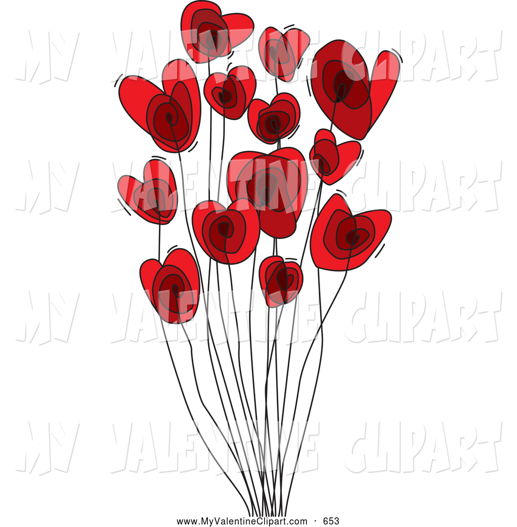 Bouquet clipart valentine. Of a red heart