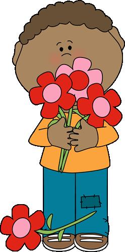Boy holding clip art. Bouquet clipart valentine