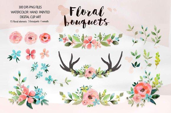 Floral bouquets illustrations creative. Bouquet clipart watercolor
