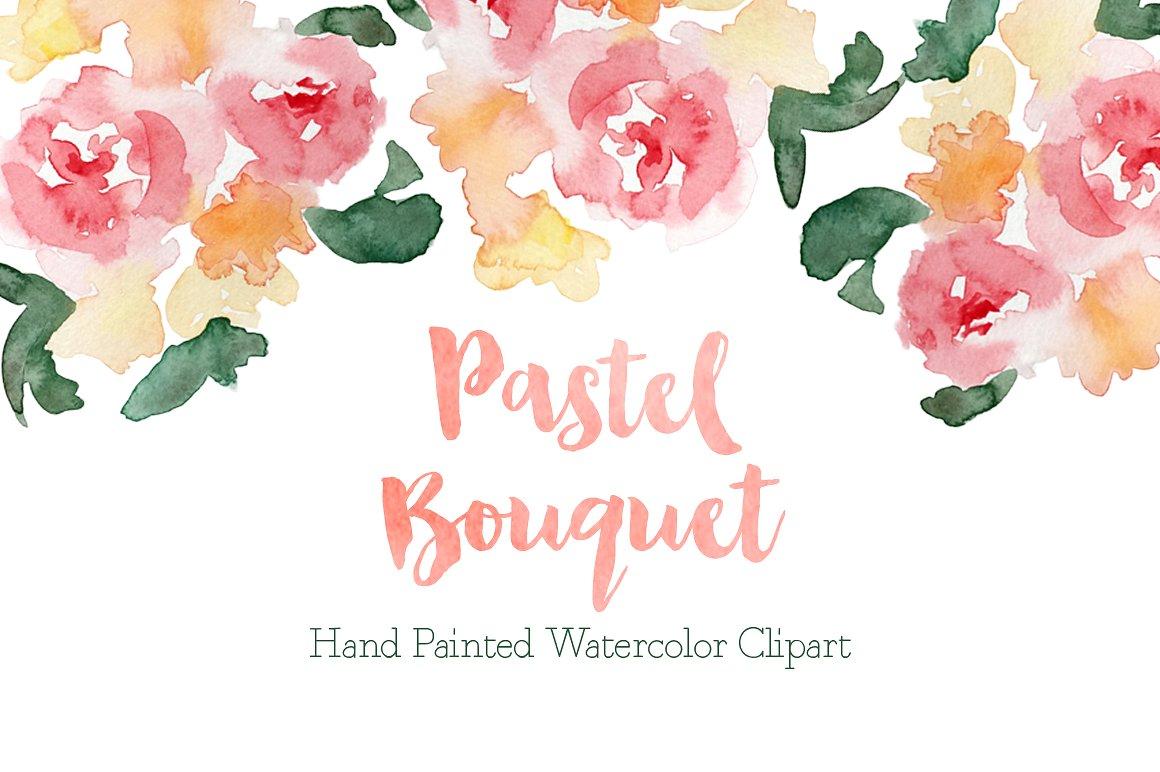 Pastel illustrations creative market. Bouquet clipart watercolor