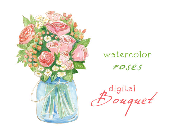 Bride clipart watercolor. Digital flowers rose bouquet