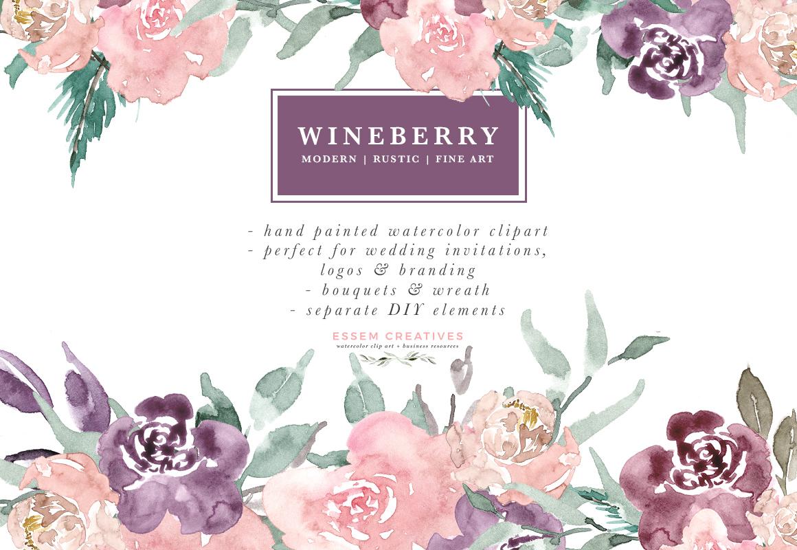 Bouquet clipart watercolor. Wine berry burgundy flowers
