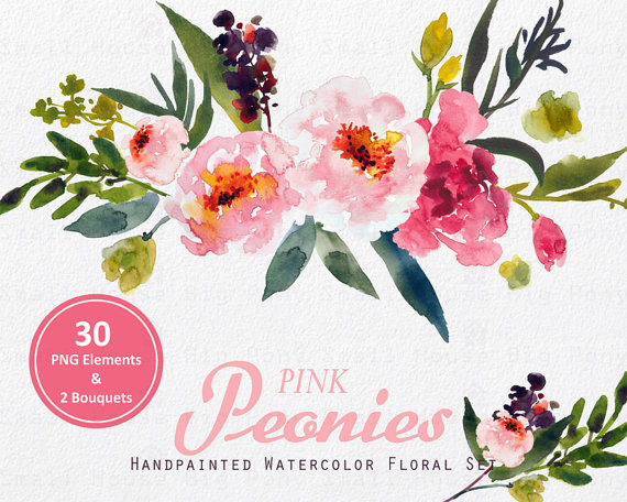 Bouquet clipart watercolor. Digital flower peonies clip