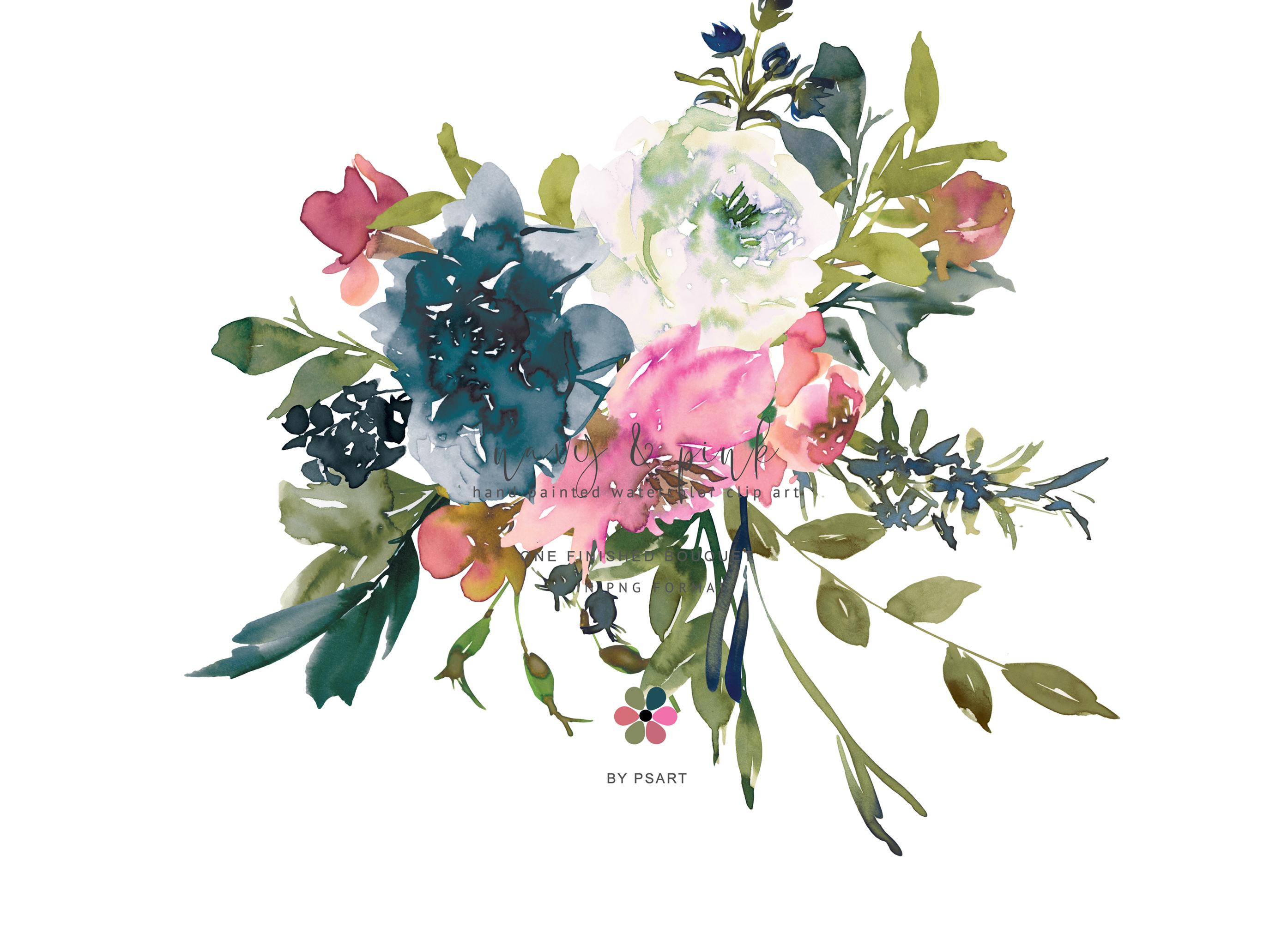 Hand painted floral . Bouquet clipart watercolor