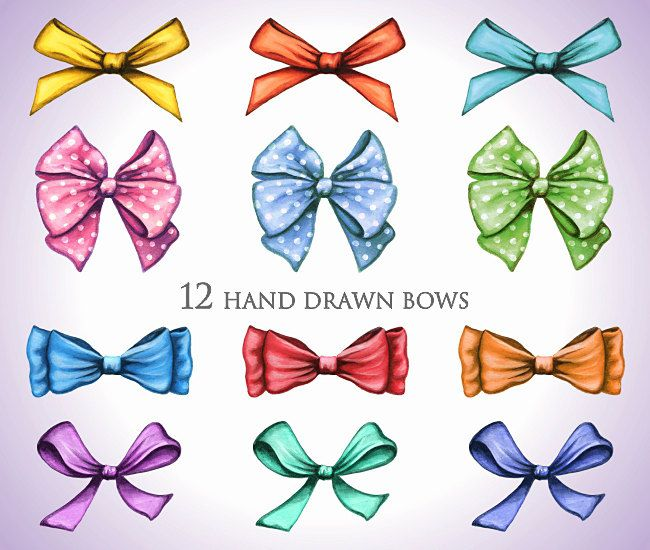 Clip art hand painted. Bow clipart birthday