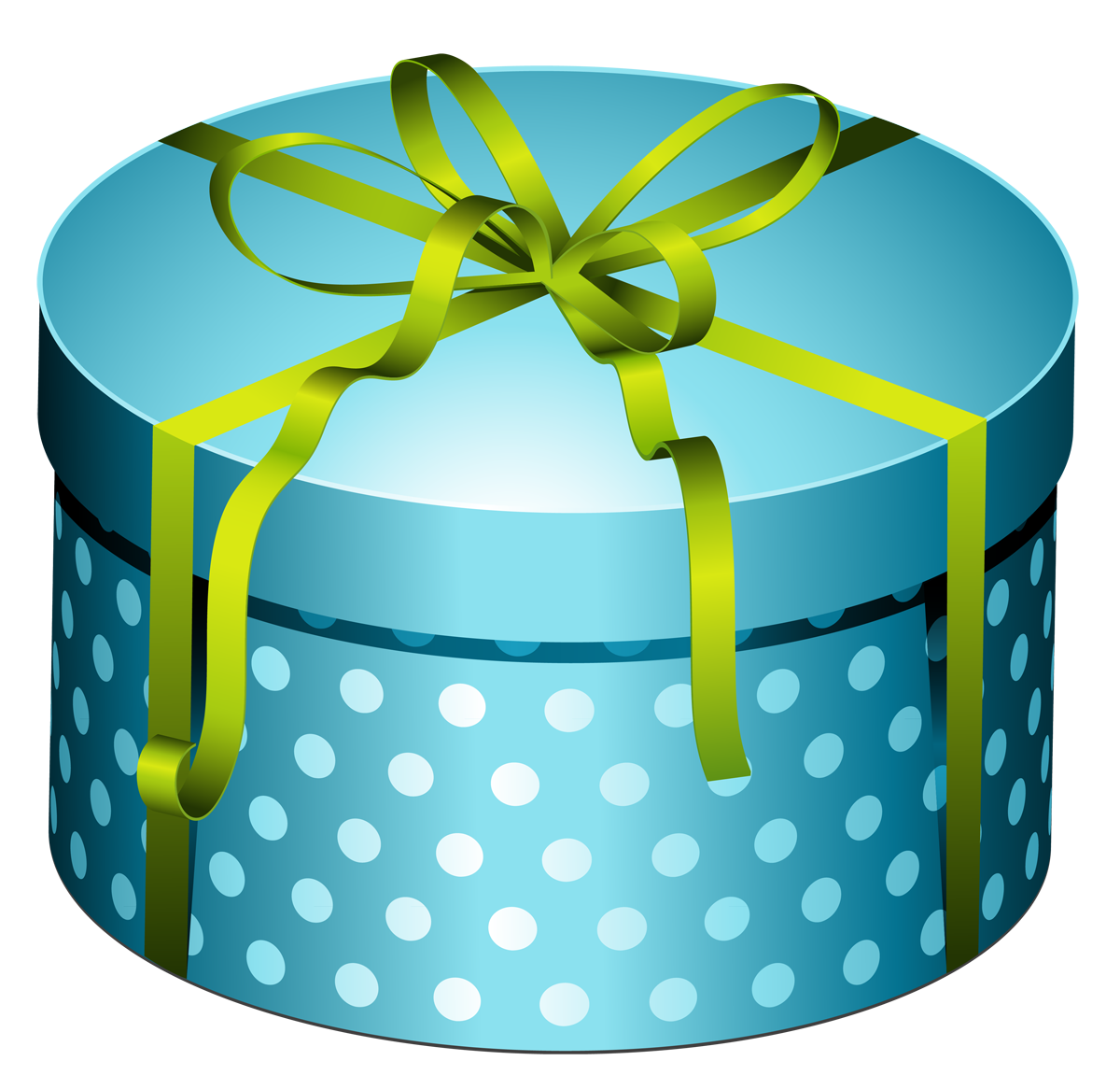 Blue round present box. Boxes clipart happy birthday