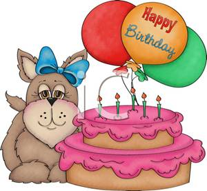 A dog with in. Bow clipart birthday