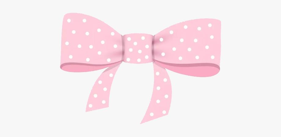 Pink polka dot . Bow clipart bowknot