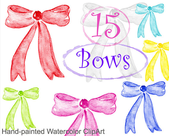 Watercolor commercial use multicolor. Bows clipart bowknot