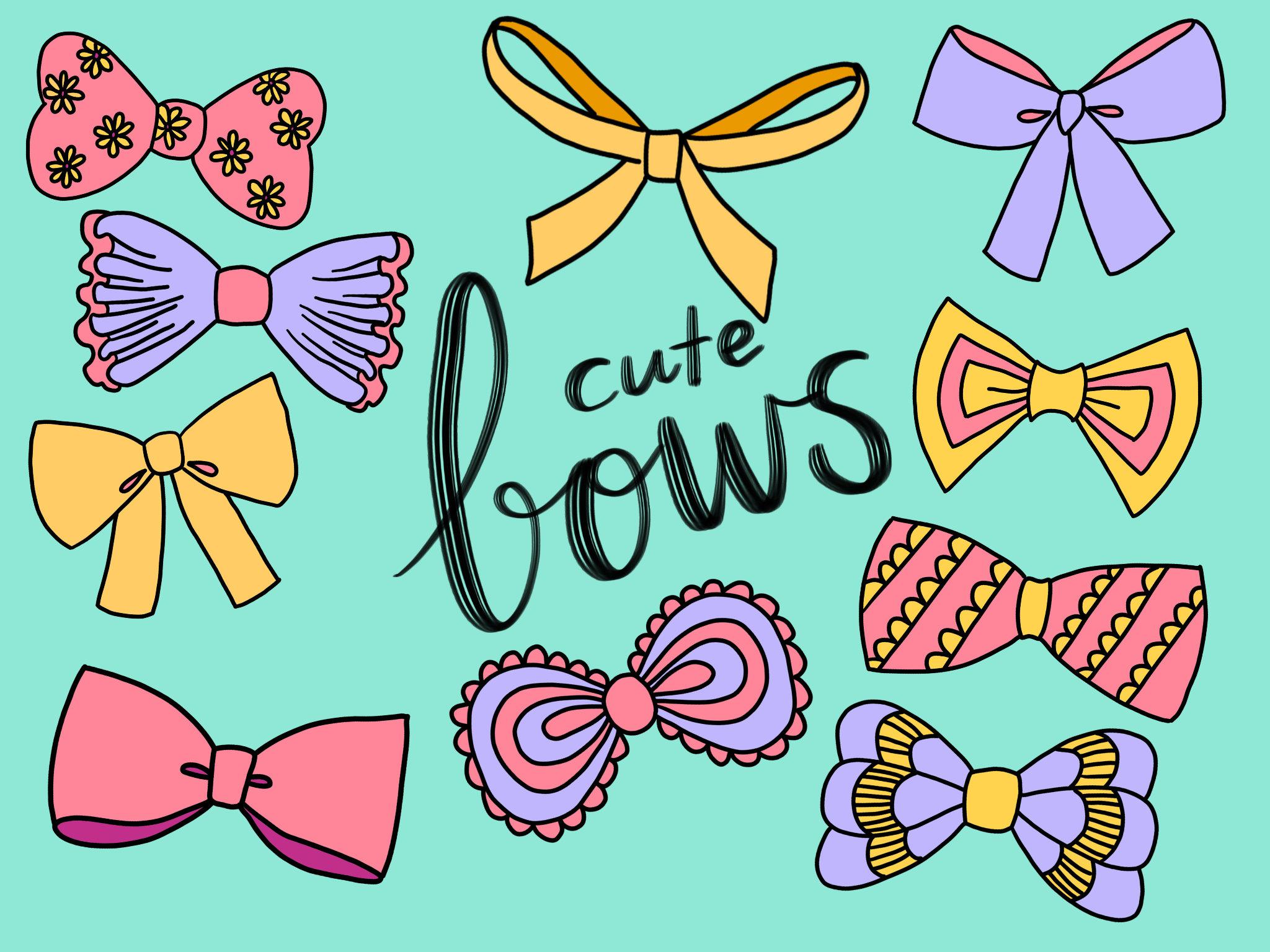 Cute doodles vector . Bow clipart clip art