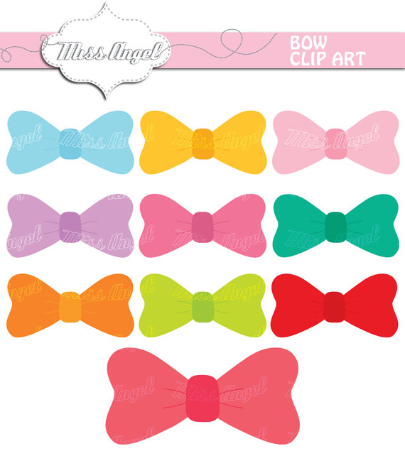 Set digital solid colorful. Bows clipart color
