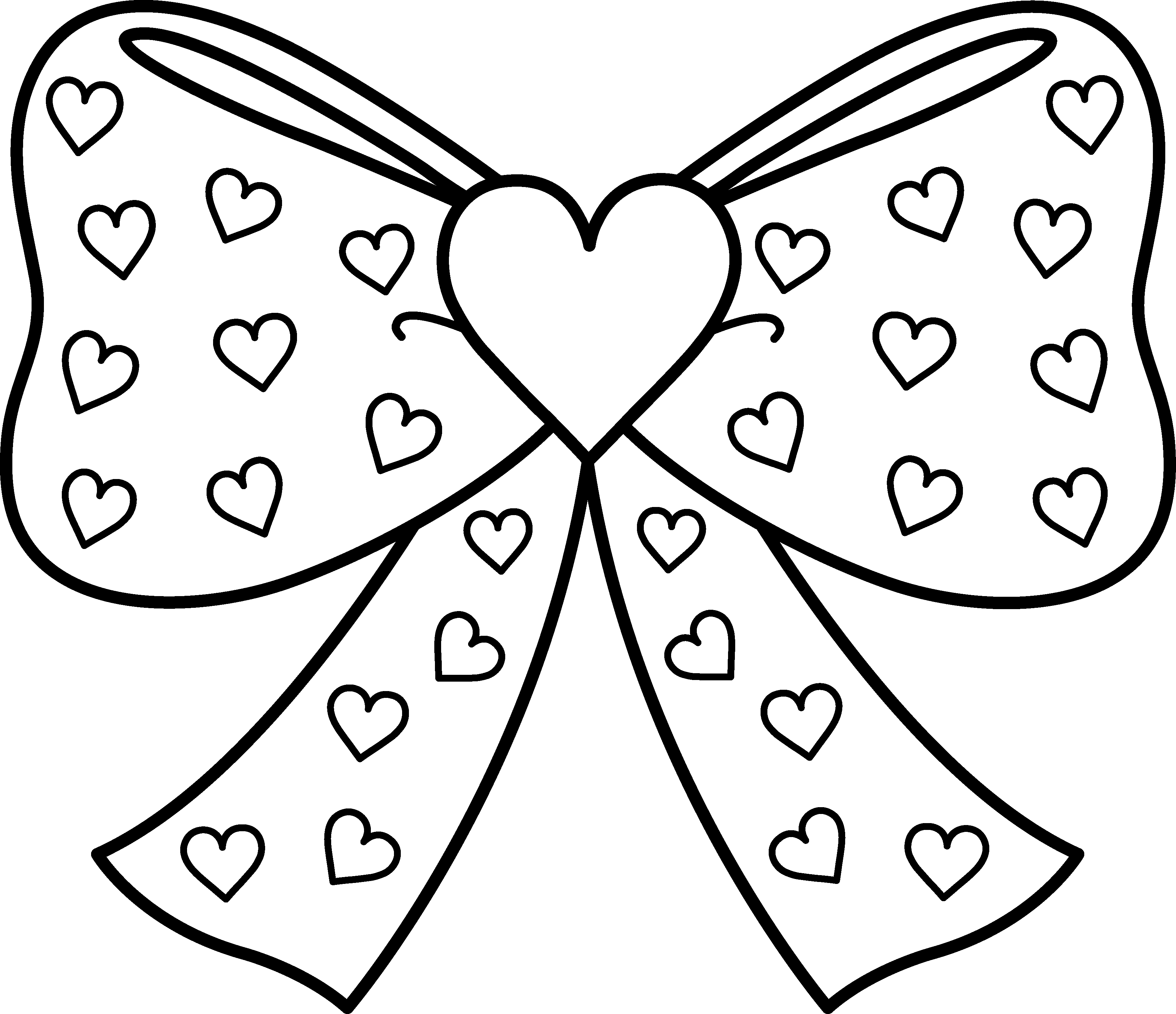 Bows clipart color. Bow with hearts coloring