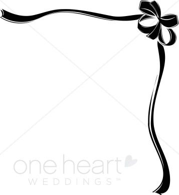 Bows clipart corner. Black heart and borders