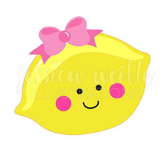 Lemon cutie digital clip. Bow clipart cute