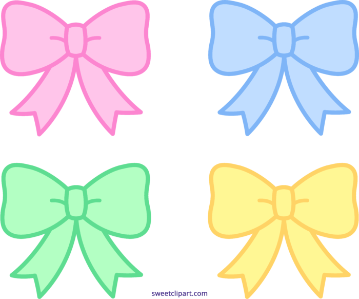 Bow clipart cute. Pastel bows ribbons felt
