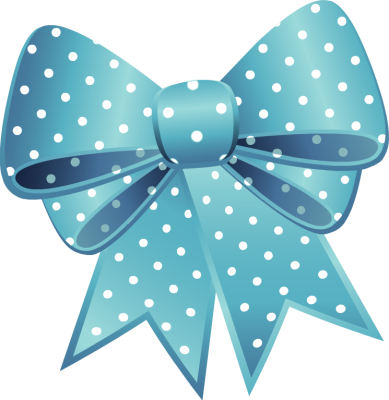 Blue Dotted Easter Egg With Pink Bow Png Clipart
