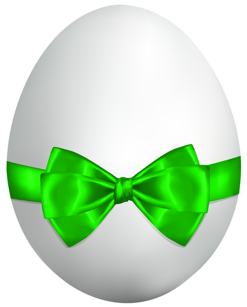 Bow clipart easter. White egg with green