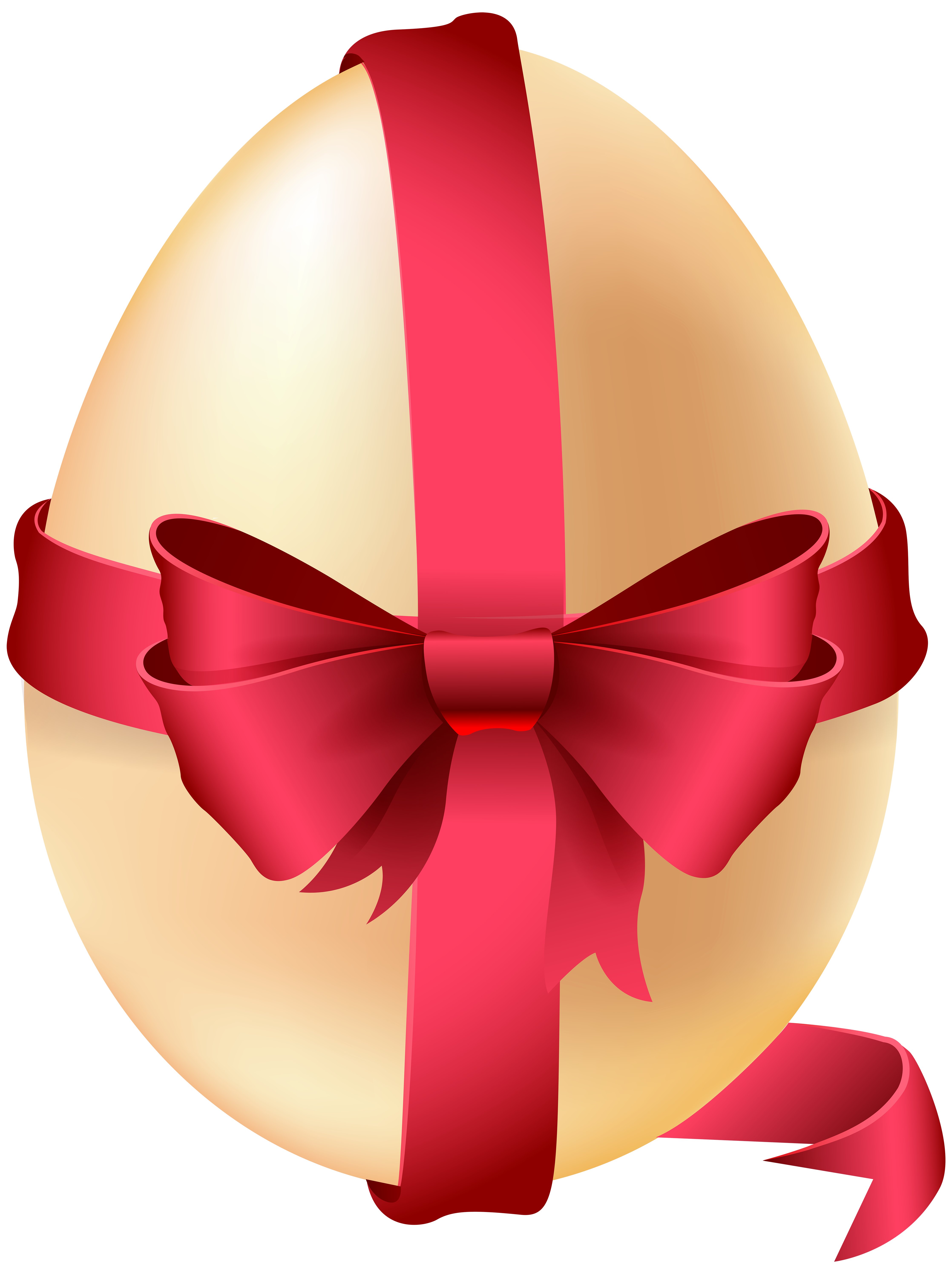 Egg with red bow. Bows clipart easter